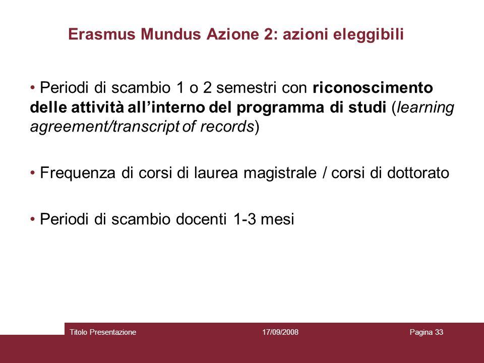 17/09/2008Titolo PresentazionePagina 33 Erasmus Mundus Azione 2: azioni eleggibili Periodi di scambio 1 o 2 semestri con riconoscimento delle attività