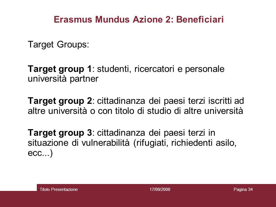 17/09/2008Titolo PresentazionePagina 34 Erasmus Mundus Azione 2: Beneficiari Target Groups: Target group 1: studenti, ricercatori e personale universi