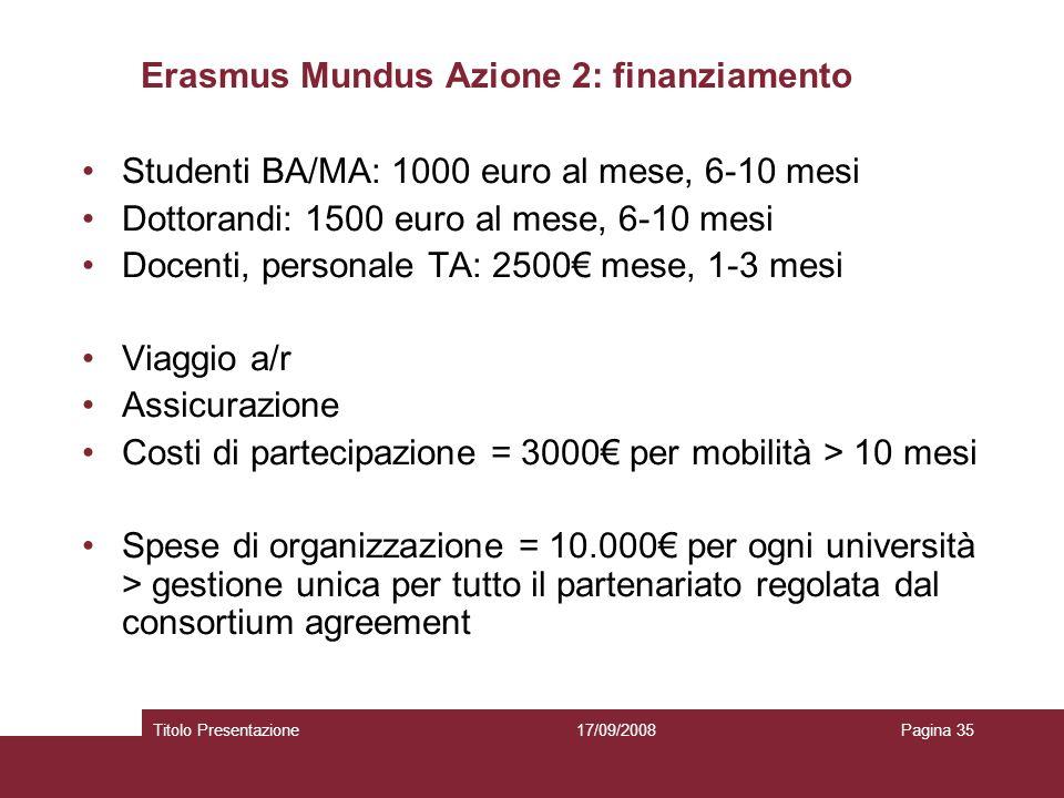 17/09/2008Titolo PresentazionePagina 35 Erasmus Mundus Azione 2: finanziamento Studenti BA/MA: 1000 euro al mese, 6-10 mesi Dottorandi: 1500 euro al mese, 6-10 mesi Docenti, personale TA: 2500 mese, 1-3 mesi Viaggio a/r Assicurazione Costi di partecipazione = 3000 per mobilità > 10 mesi Spese di organizzazione = 10.000 per ogni università > gestione unica per tutto il partenariato regolata dal consortium agreement