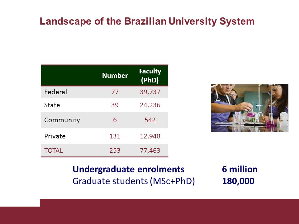 Landscape of the Brazilian University System Undergraduate enrolments6 million Graduate students (MSc+PhD) 180,000 Number Faculty (PhD) Federal7739,737 State3924,236 Community6542 Private13112,948 TOTAL25377,463