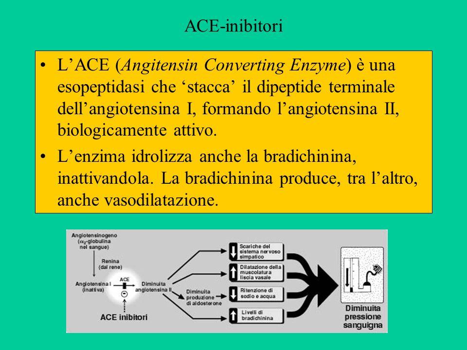 ACE-inibitori LACE (Angitensin Converting Enzyme) è una esopeptidasi che stacca il dipeptide terminale dellangiotensina I, formando langiotensina II,