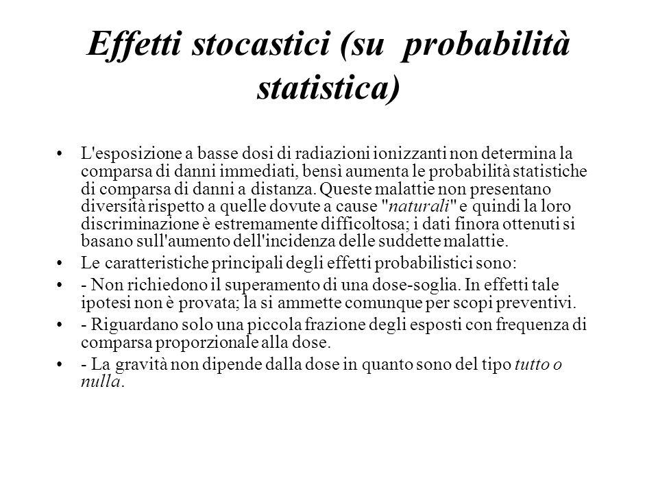 Effetti stocastici (su probabilità statistica) L'esposizione a basse dosi di radiazioni ionizzanti non determina la comparsa di danni immediati, bensì