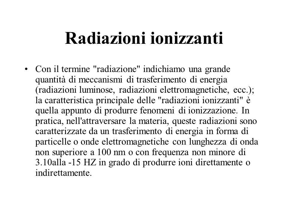 Radiazioni ionizzanti Con il termine