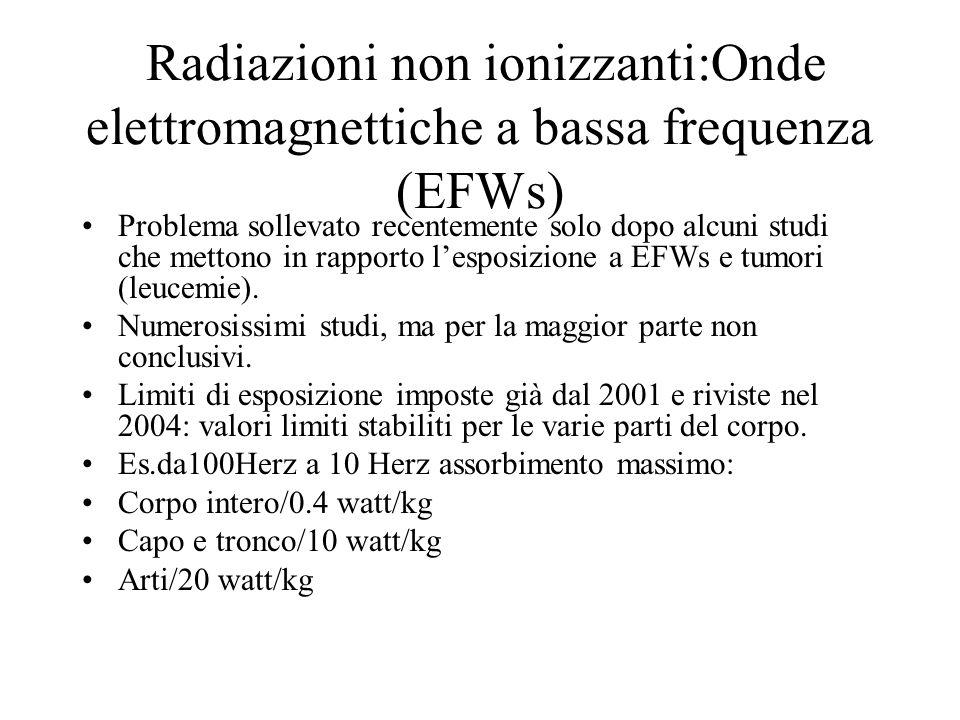 Radiazioni non ionizzanti:Onde elettromagnettiche a bassa frequenza (EFWs) Problema sollevato recentemente solo dopo alcuni studi che mettono in rappo