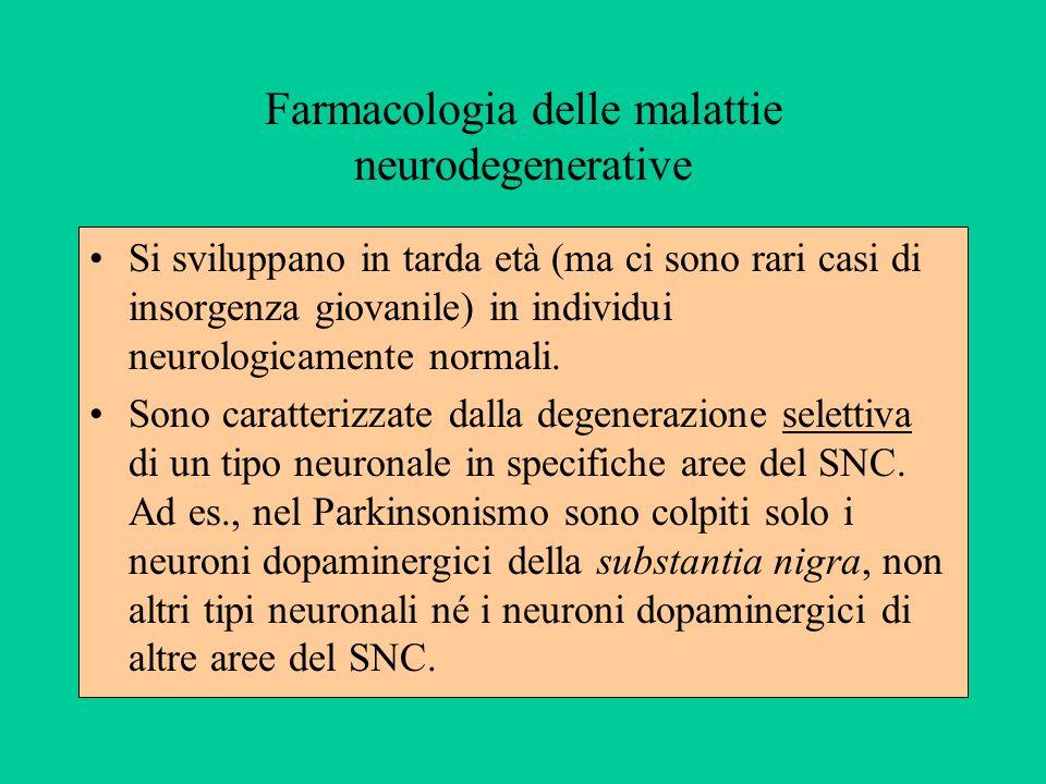 Farmacologia delle malattie neurodegenerative Si sviluppano in tarda età (ma ci sono rari casi di insorgenza giovanile) in individui neurologicamente