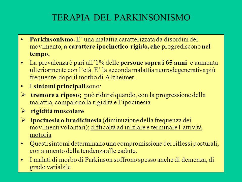 TERAPIA DEL PARKINSONISMO Parkinsonismo. E una malattia caratterizzata da disordini del movimento, a carattere ipocinetico-rigido, che progrediscono n