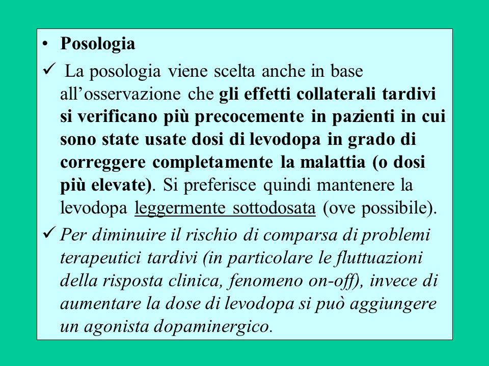 Posologia La posologia viene scelta anche in base allosservazione che gli effetti collaterali tardivi si verificano più precocemente in pazienti in cu