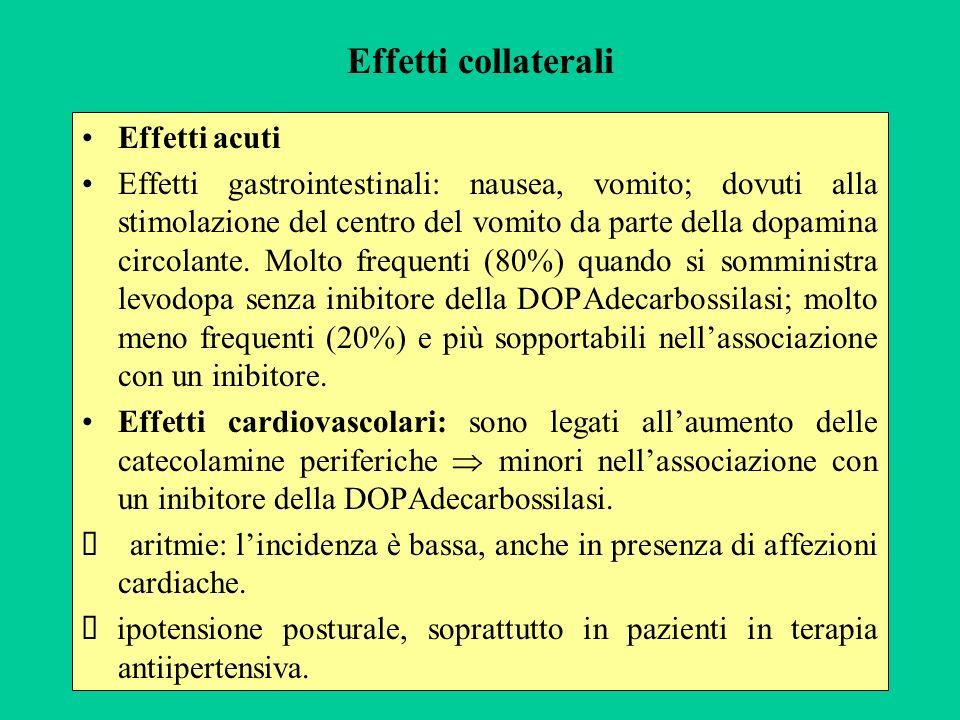 Effetti collaterali Effetti acuti Effetti gastrointestinali: nausea, vomito; dovuti alla stimolazione del centro del vomito da parte della dopamina ci