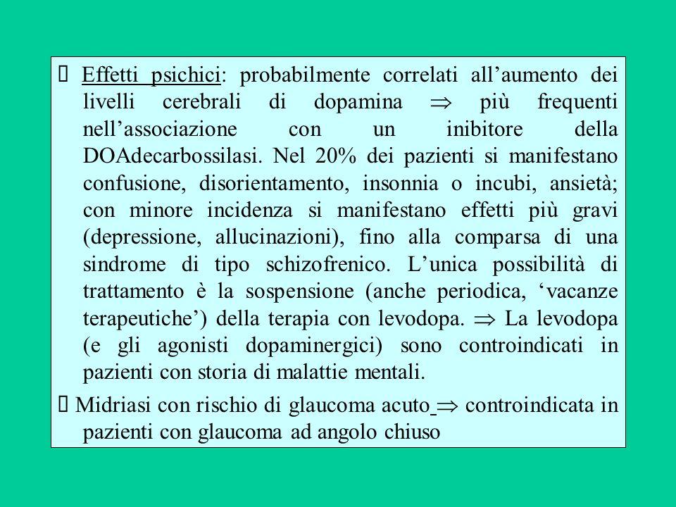 Effetti psichici: probabilmente correlati allaumento dei livelli cerebrali di dopamina più frequenti nellassociazione con un inibitore della DOAdecarb