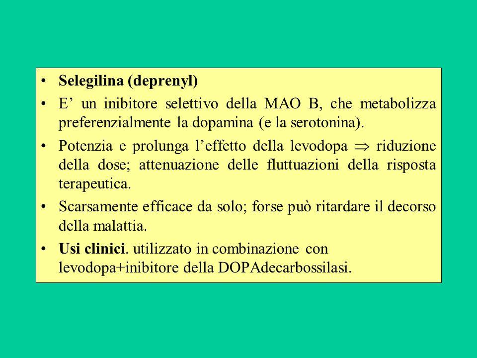 Selegilina (deprenyl) E un inibitore selettivo della MAO B, che metabolizza preferenzialmente la dopamina (e la serotonina). Potenzia e prolunga leffe