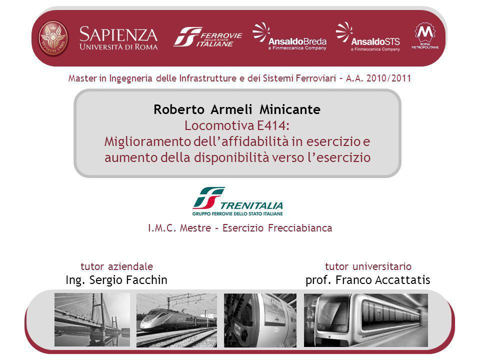 Master in Ingegneria delle Infrastrutture e dei Sistemi Ferroviari – A.A. 2010/2011 Roberto Armeli Minicante Locomotiva E414: Miglioramento dellaffida
