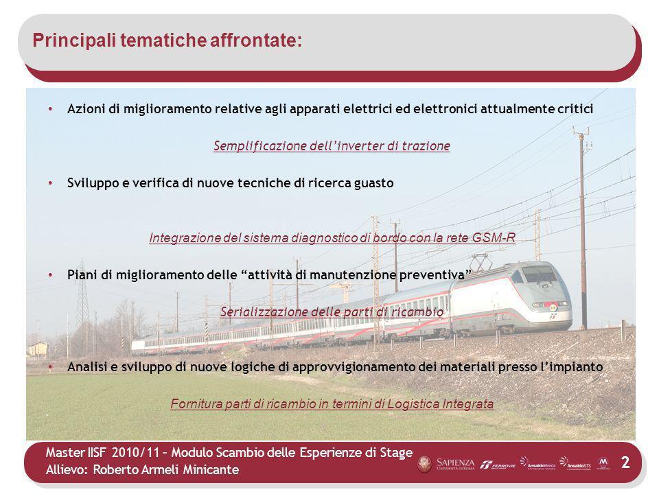Master IISF 2010/11 – Modulo Scambio delle Esperienze di Stage Allievo: Roberto Armeli Minicante Principali tematiche affrontate: 2 Azioni di migliora