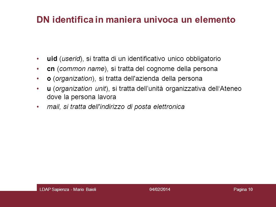 DN identifica in maniera univoca un elemento uid (userid), si tratta di un identificativo unico obbligatorio cn (common name), si tratta del cognome d