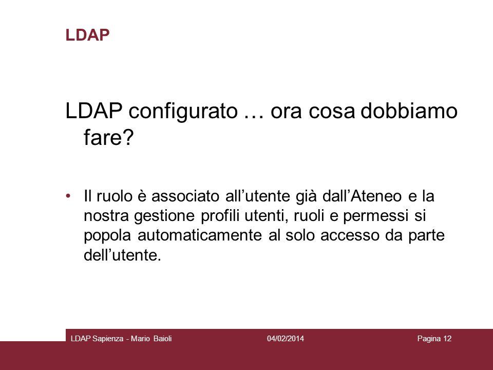 LDAP LDAP configurato … ora cosa dobbiamo fare? Il ruolo è associato allutente già dallAteneo e la nostra gestione profili utenti, ruoli e permessi si