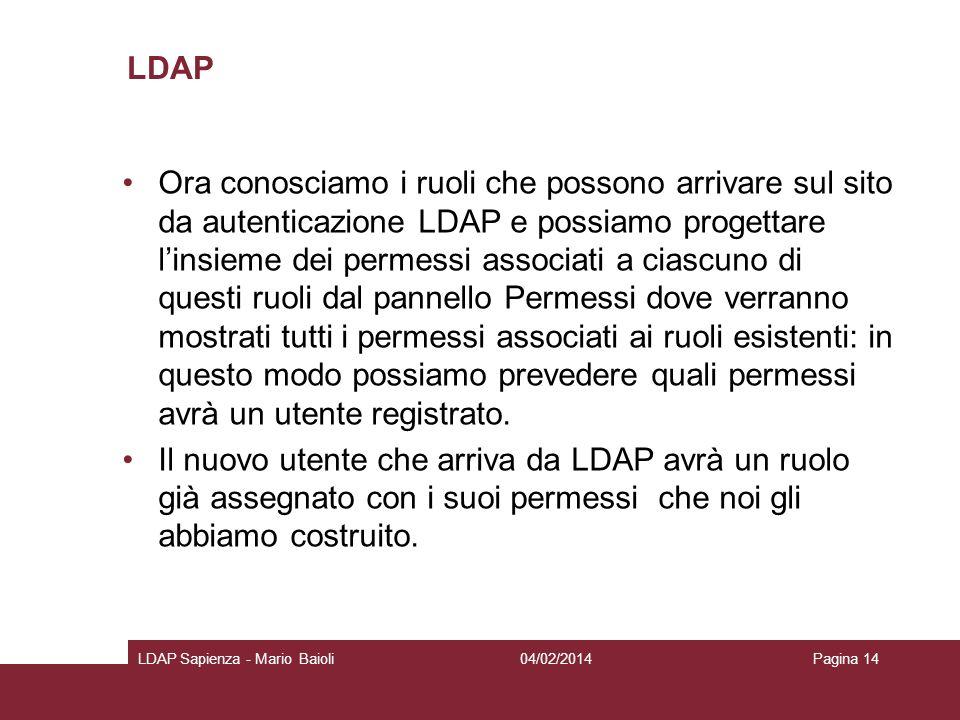 LDAP Ora conosciamo i ruoli che possono arrivare sul sito da autenticazione LDAP e possiamo progettare linsieme dei permessi associati a ciascuno di q