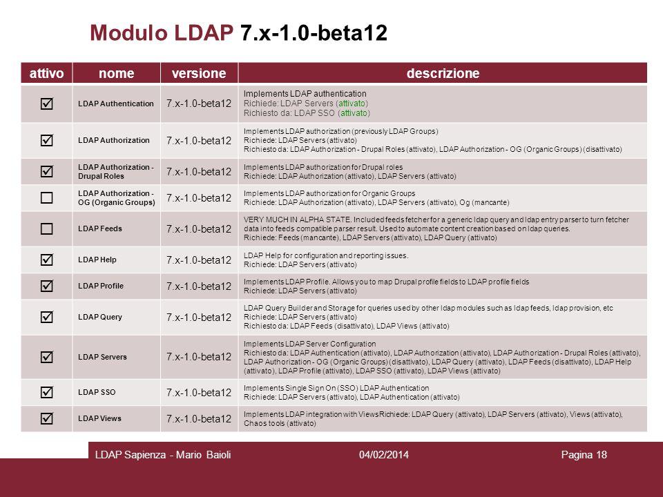 Modulo LDAP 7.x-1.0-beta12 attivonomeversionedescrizione LDAP Authentication 7.x-1.0-beta12 Implements LDAP authentication Richiede: LDAP Servers (att