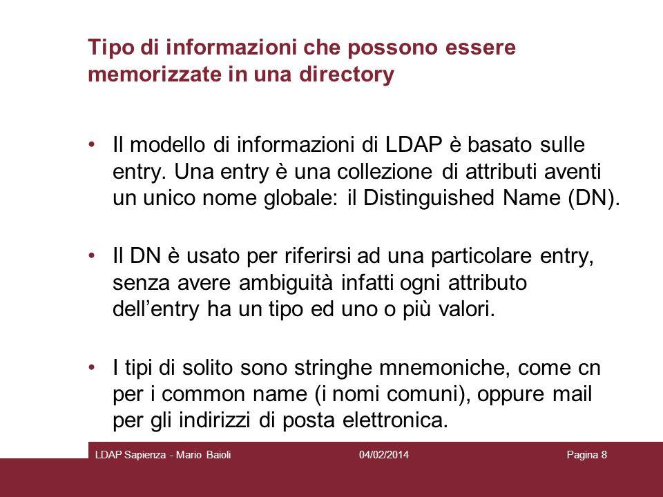 Tipo di informazioni che possono essere memorizzate in una directory Il modello di informazioni di LDAP è basato sulle entry. Una entry è una collezio
