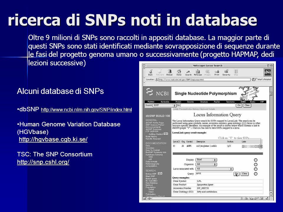 ricerca di SNPs noti in database Oltre 9 milioni di SNPs sono raccolti in appositi database. La maggior parte di questi SNPs sono stati identificati m