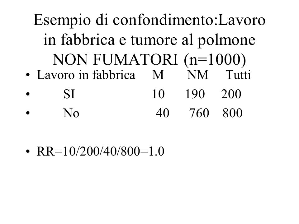 Esempio di confondimento:Lavoro in fabbrica e tumore al polmone NON FUMATORI (n=1000) Lavoro in fabbrica M NM Tutti SI 10 190 200 No 40 760 800 RR=10/