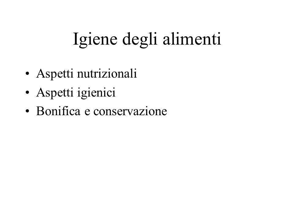 Igiene degli alimenti Aspetti nutrizionali Aspetti igienici Bonifica e conservazione