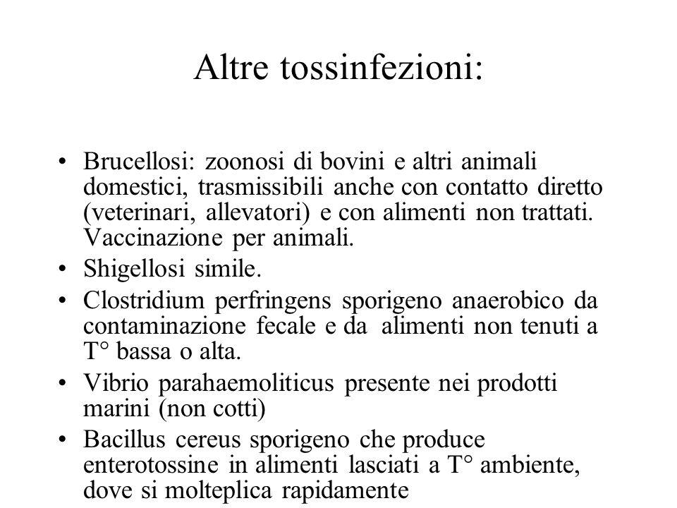 Altre tossinfezioni: Brucellosi: zoonosi di bovini e altri animali domestici, trasmissibili anche con contatto diretto (veterinari, allevatori) e con alimenti non trattati.