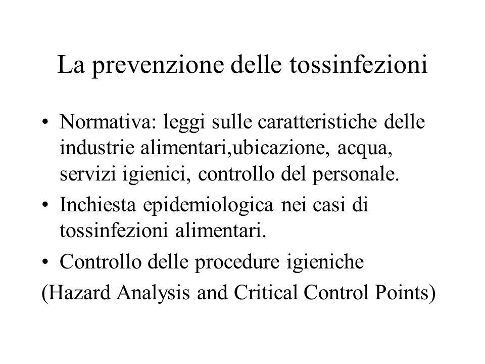 La prevenzione delle tossinfezioni Normativa: leggi sulle caratteristiche delle industrie alimentari,ubicazione, acqua, servizi igienici, controllo del personale.