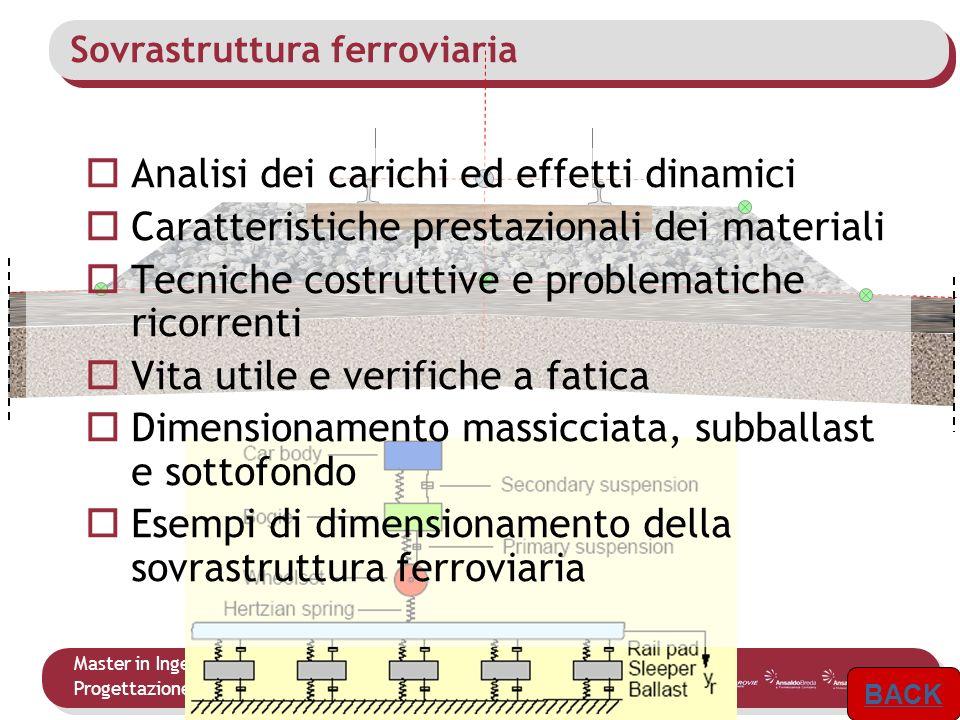 Master in Ingegneria delle Infrastrutture e dei Sistemi Ferroviari Progettazione dellInfrastruttura 6 Analisi dei carichi ed effetti dinamici Caratter