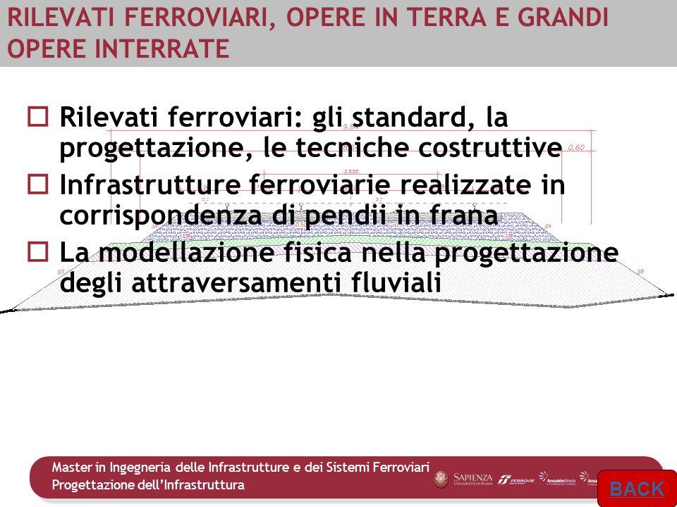 Master in Ingegneria delle Infrastrutture e dei Sistemi Ferroviari Progettazione dellInfrastruttura 9 RILEVATI FERROVIARI, OPERE IN TERRA E GRANDI OPE