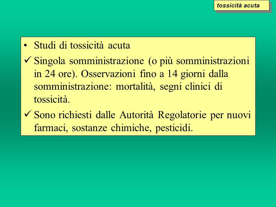 Studi di tossicità acuta Singola somministrazione (o più somministrazioni in 24 ore). Osservazioni fino a 14 giorni dalla somministrazione: mortalità,