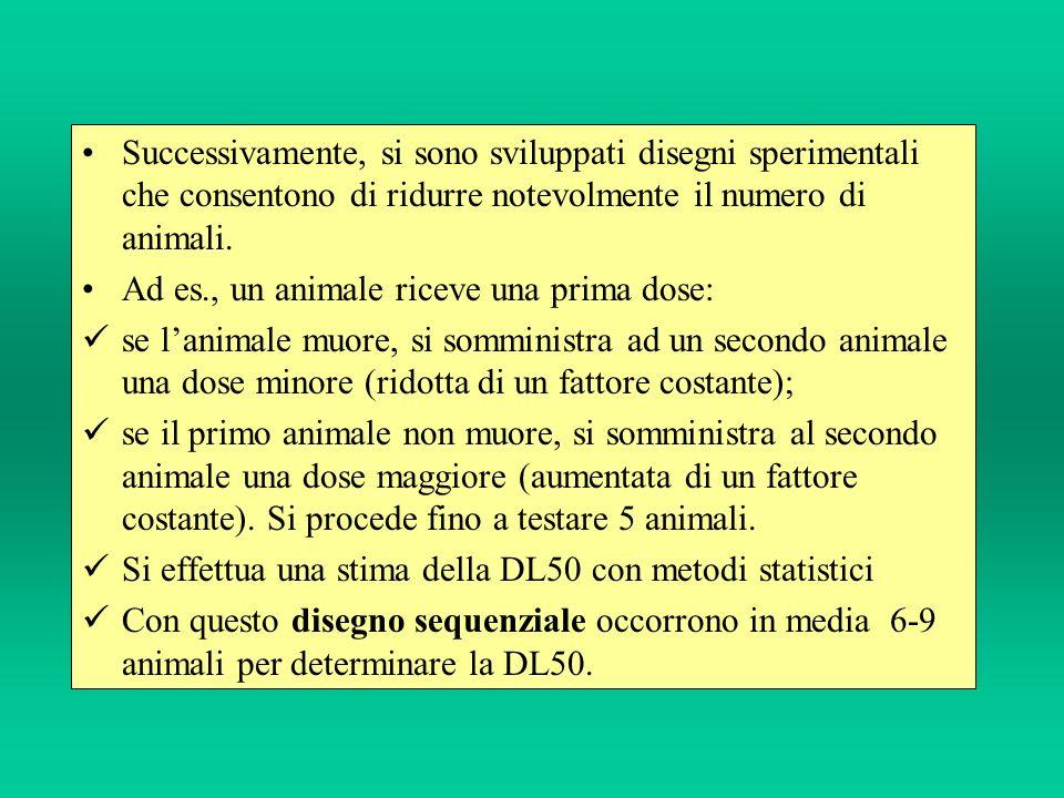 Successivamente, si sono sviluppati disegni sperimentali che consentono di ridurre notevolmente il numero di animali. Ad es., un animale riceve una pr