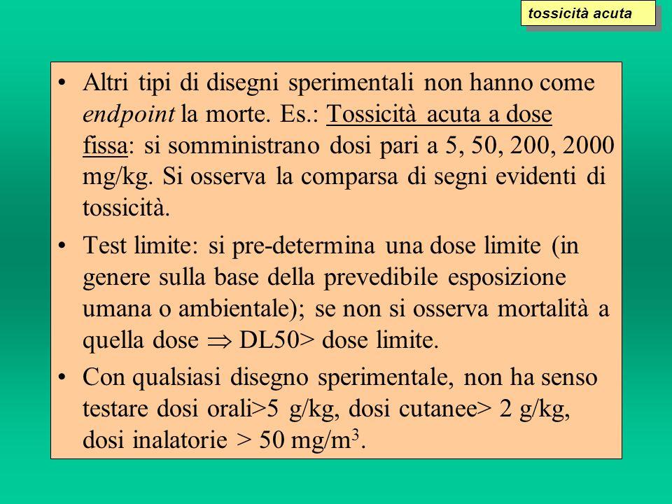 Altri tipi di disegni sperimentali non hanno come endpoint la morte. Es.: Tossicità acuta a dose fissa: si somministrano dosi pari a 5, 50, 200, 2000