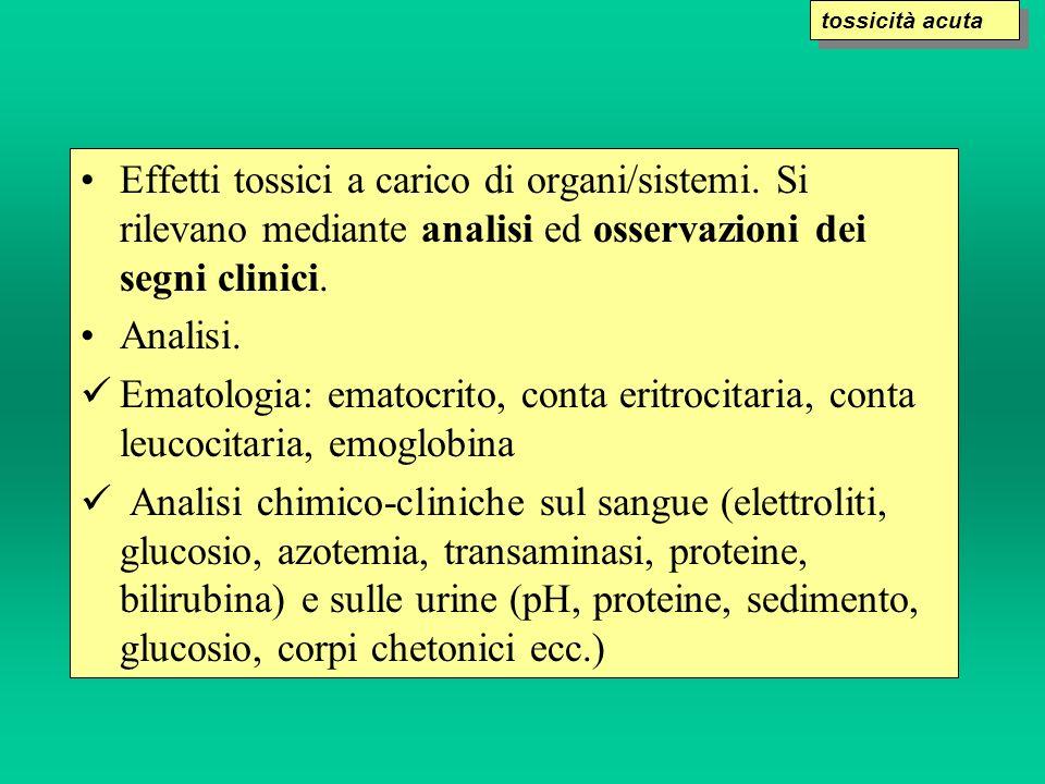 Effetti tossici a carico di organi/sistemi. Si rilevano mediante analisi ed osservazioni dei segni clinici. Analisi. Ematologia: ematocrito, conta eri