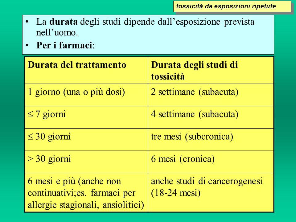 La durata degli studi dipende dallesposizione prevista nelluomo. Per i farmaci: Durata del trattamentoDurata degli studi di tossicità 1 giorno (una o