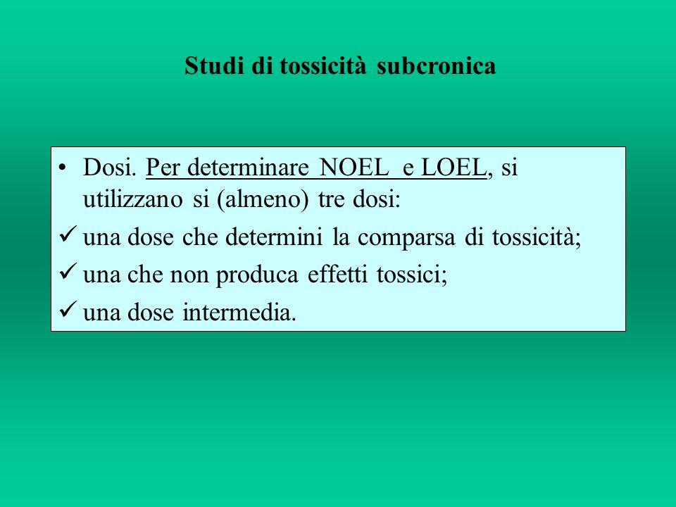 Dosi. Per determinare NOEL e LOEL, si utilizzano si (almeno) tre dosi: una dose che determini la comparsa di tossicità; una che non produca effetti to