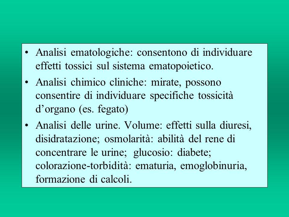 Analisi ematologiche: consentono di individuare effetti tossici sul sistema ematopoietico. Analisi chimico cliniche: mirate, possono consentire di ind