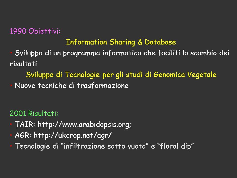 1990 Obiettivi: Information Sharing & Database Sviluppo di un programma informatico che faciliti lo scambio dei risultati Sviluppo di Tecnologie per g