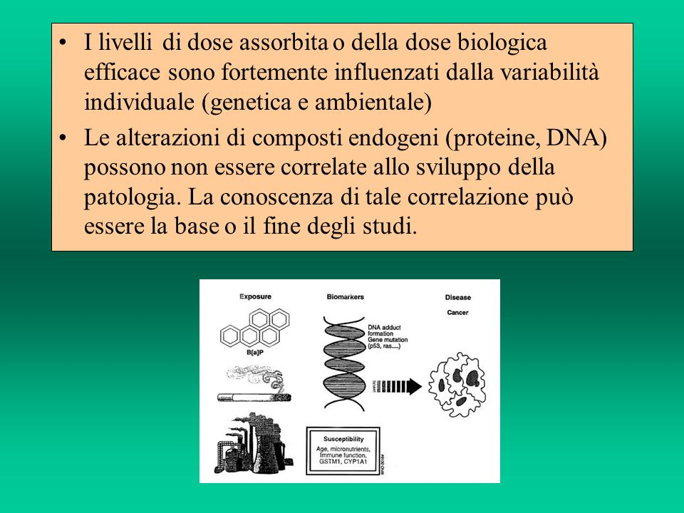 I livelli di dose assorbita o della dose biologica efficace sono fortemente influenzati dalla variabilità individuale (genetica e ambientale) Le alterazioni di composti endogeni (proteine, DNA) possono non essere correlate allo sviluppo della patologia.
