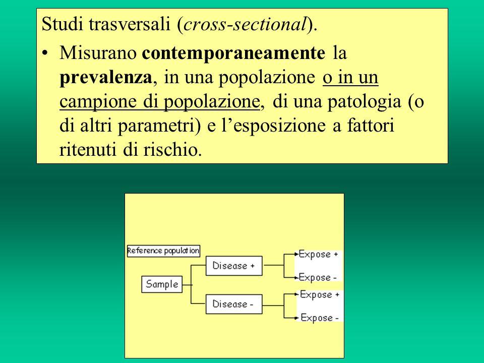 Studi trasversali (cross-sectional). Misurano contemporaneamente la prevalenza, in una popolazione o in un campione di popolazione, di una patologia (