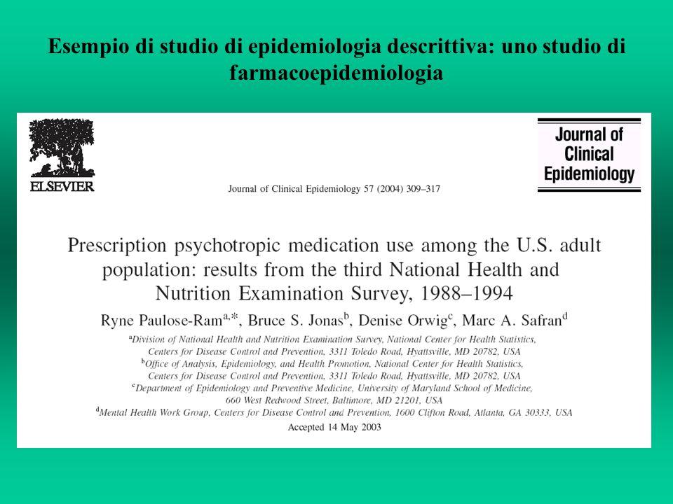 Esempio di studio di epidemiologia descrittiva: uno studio di farmacoepidemiologia