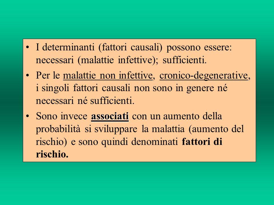 I determinanti (fattori causali) possono essere: necessari (malattie infettive); sufficienti. Per le malattie non infettive, cronico-degenerative, i s