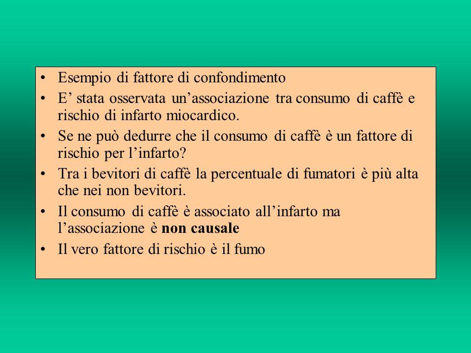 Esempio di fattore di confondimento E stata osservata unassociazione tra consumo di caffè e rischio di infarto miocardico. Se ne può dedurre che il co