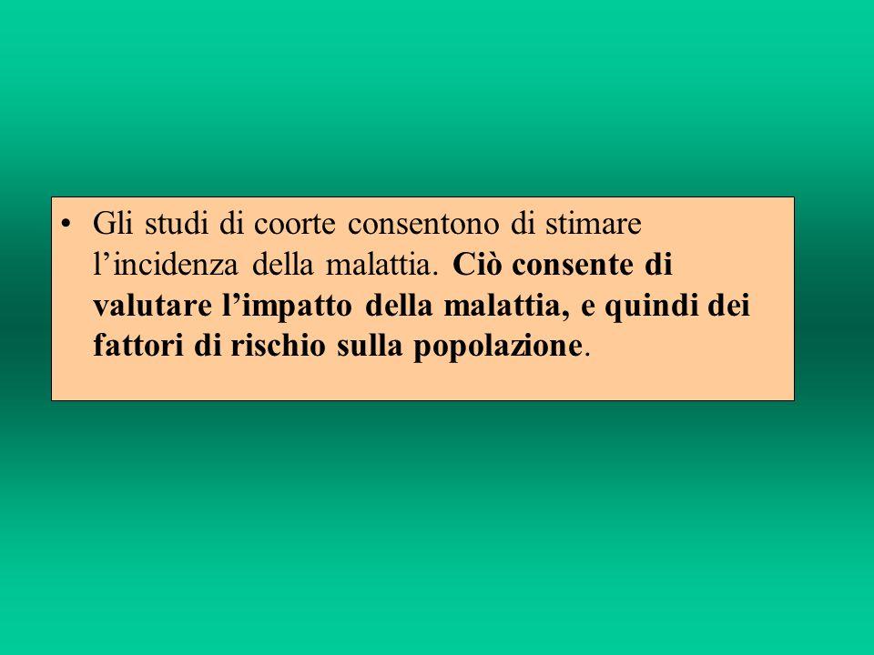 Gli studi di coorte consentono di stimare lincidenza della malattia.