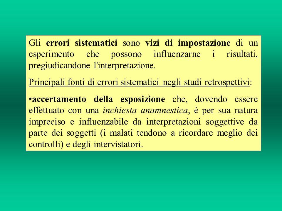 Gli errori sistematici sono vizi di impostazione di un esperimento che possono influenzarne i risultati, pregiudicandone l interpretazione.