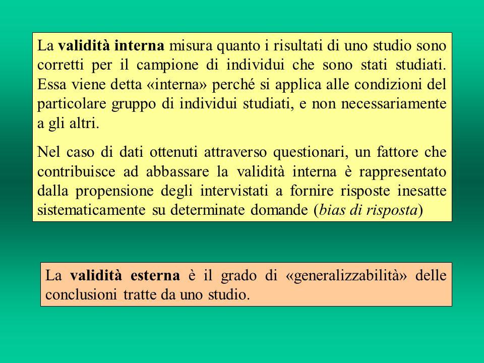 La validità interna misura quanto i risultati di uno studio sono corretti per il campione di individui che sono stati studiati.