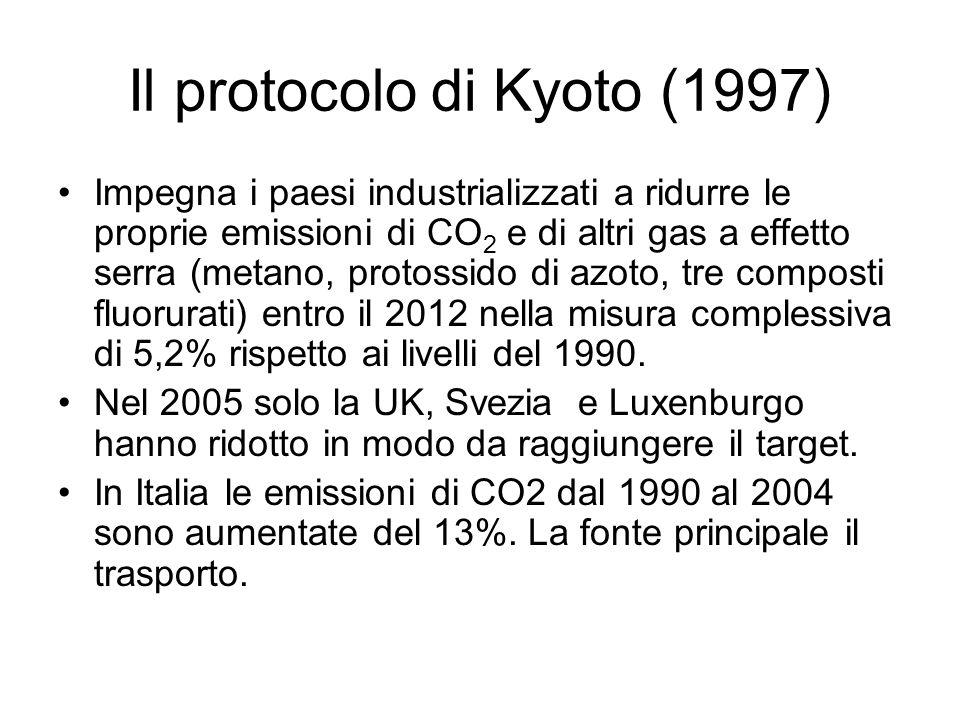 Il protocolo di Kyoto (1997) Impegna i paesi industrializzati a ridurre le proprie emissioni di CO 2 e di altri gas a effetto serra (metano, protossid