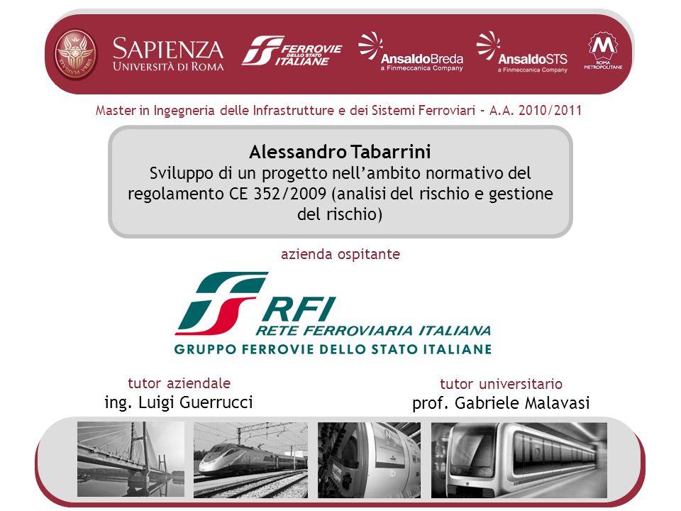 Master in Ingegneria delle Infrastrutture e dei Sistemi Ferroviari – A.A. 2010/2011 Alessandro Tabarrini Sviluppo di un progetto nellambito normativo