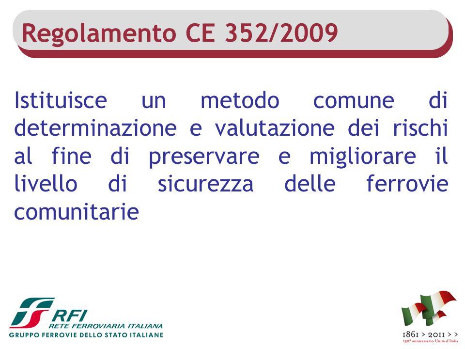 Regolamento CE 352/2009 Istituisce un metodo comune di determinazione e valutazione dei rischi al fine di preservare e migliorare il livello di sicure