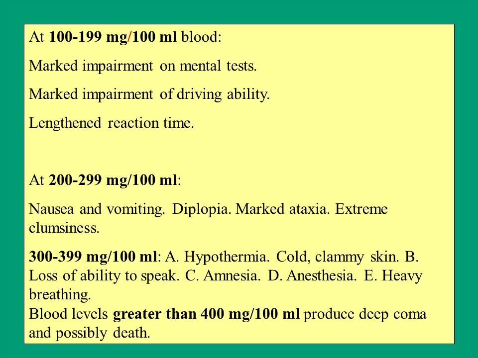 At 100-199 mg/100 ml blood: Marked impairment on mental tests. Marked impairment of driving ability. Lengthened reaction time. At 200-299 mg/100 ml: N