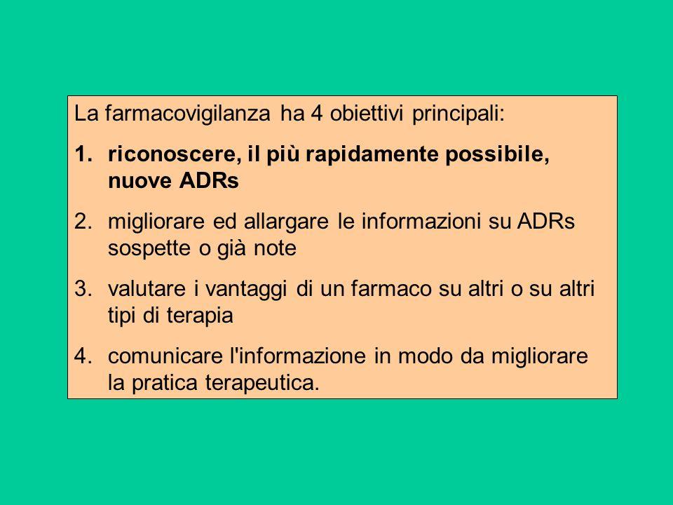 La farmacovigilanza ha 4 obiettivi principali: 1.riconoscere, il più rapidamente possibile, nuove ADRs 2.migliorare ed allargare le informazioni su AD