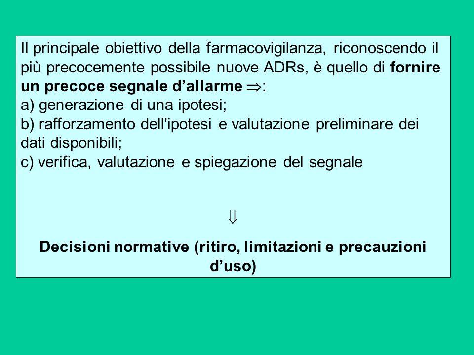 Il principale obiettivo della farmacovigilanza, riconoscendo il più precocemente possibile nuove ADRs, è quello di fornire un precoce segnale dallarme